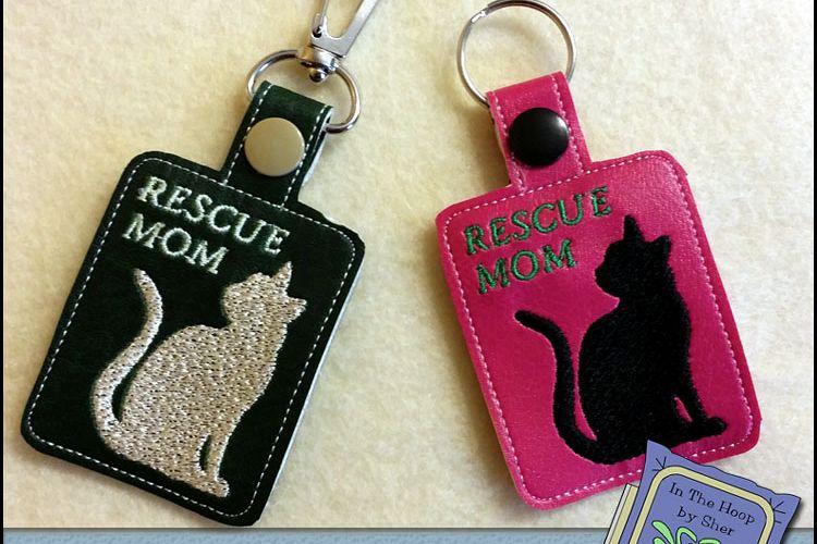 Ith Rescue Mom Cat Vinyl Key Fob Or Bag Tag Snap Tab Machine