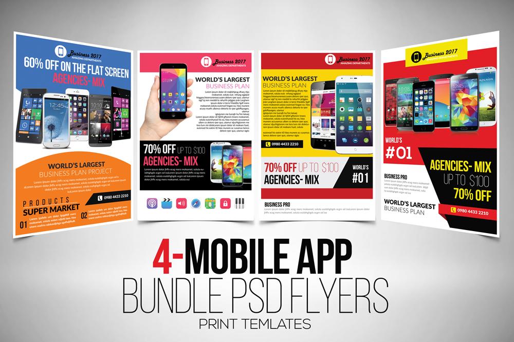 4 mobile app flyers templates