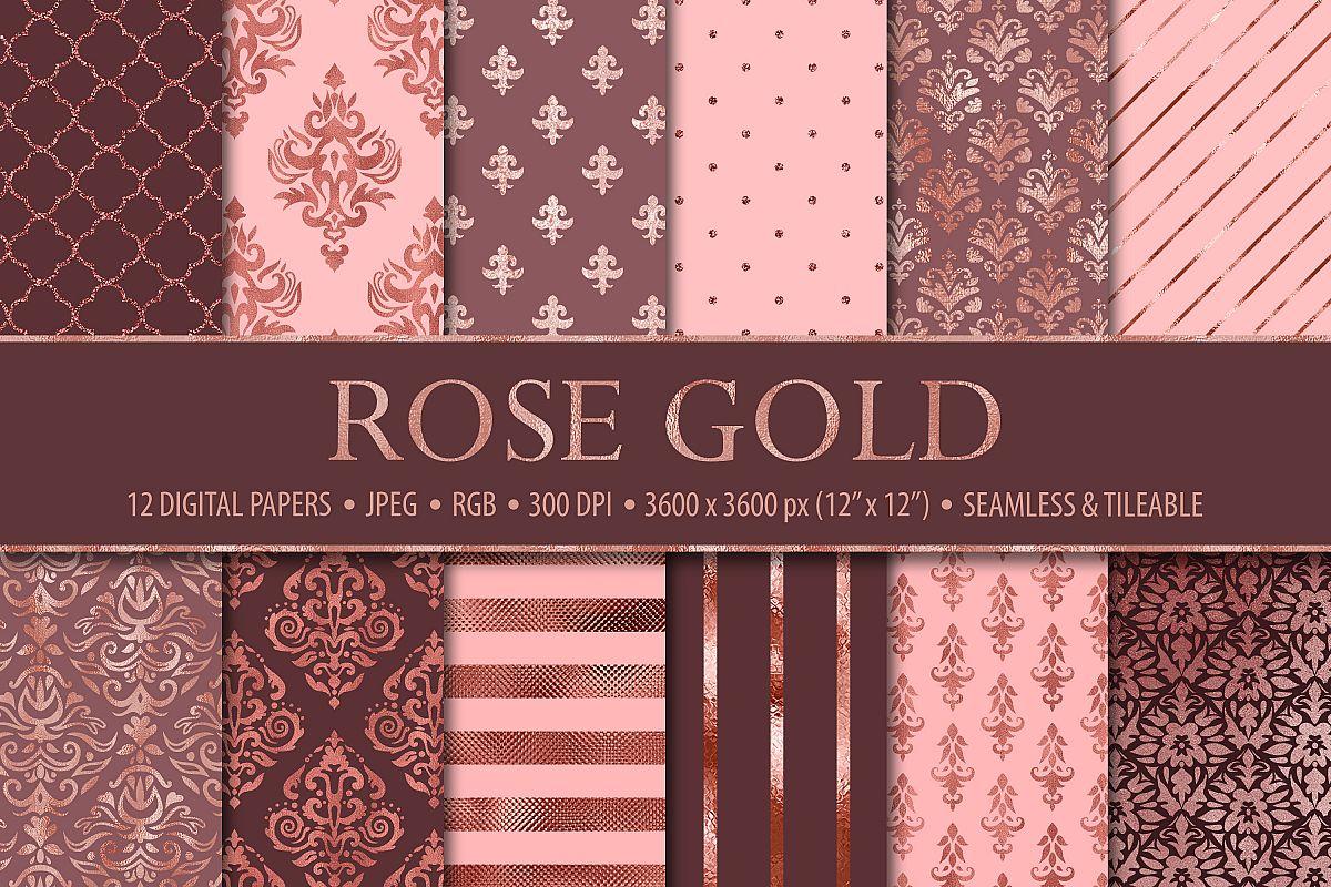 12 Rose Gold Damask & Geometric Patterns example image 1