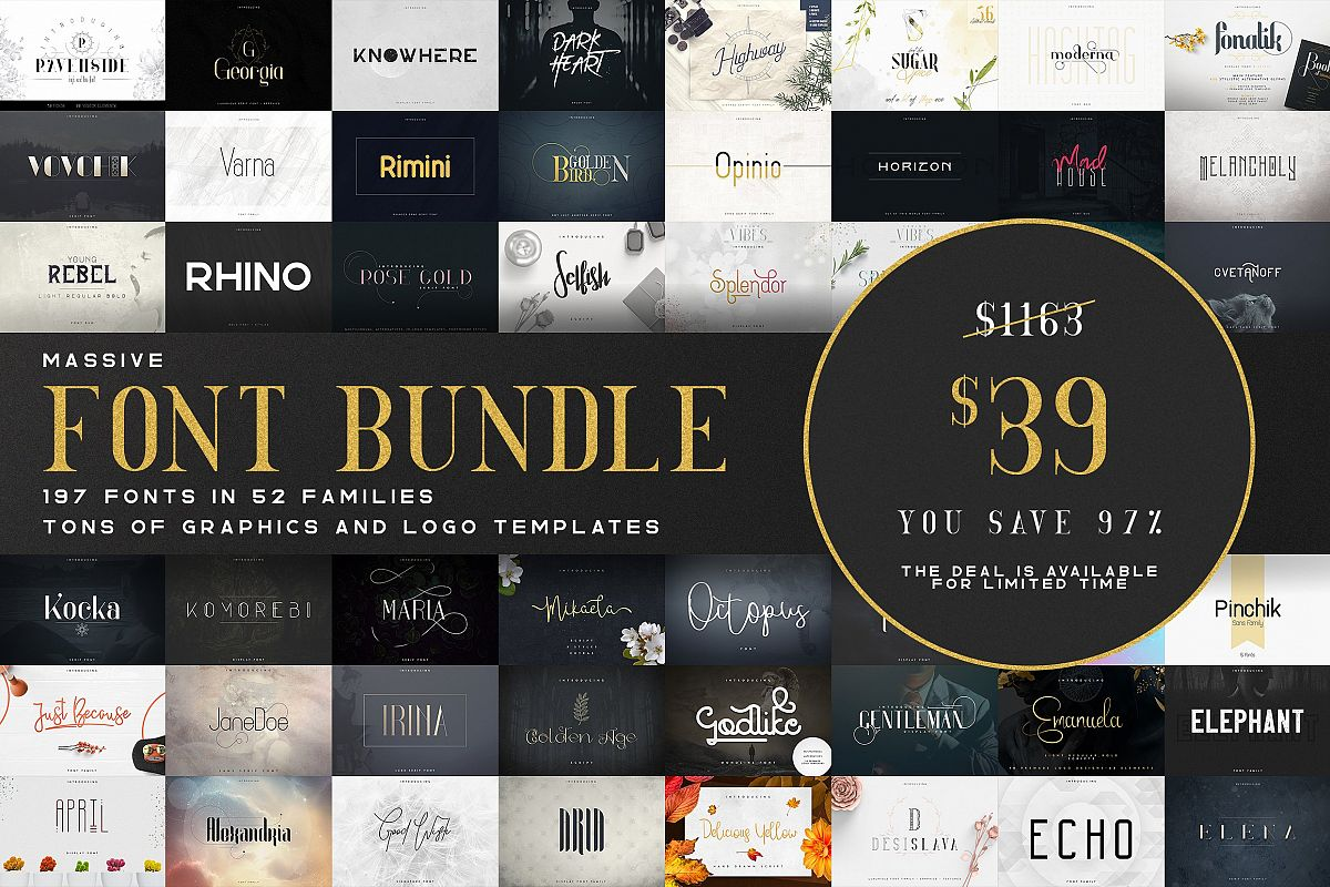 Massive Font Bundle - 197 fonts example image 1