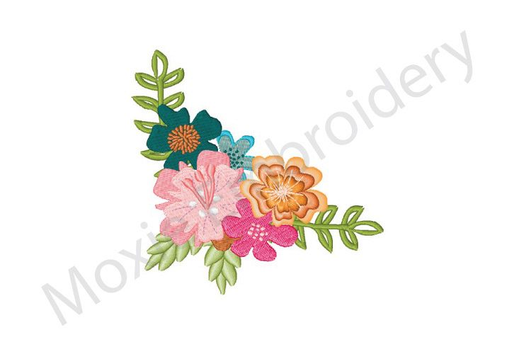 Flowers Embroidery Design Floral Corner Design