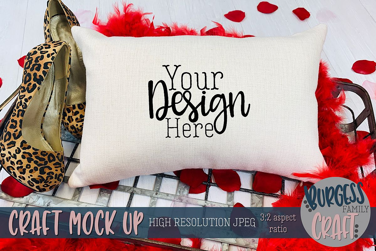 Valentine 12x18 pillow leopard print Craft mock up example image 1