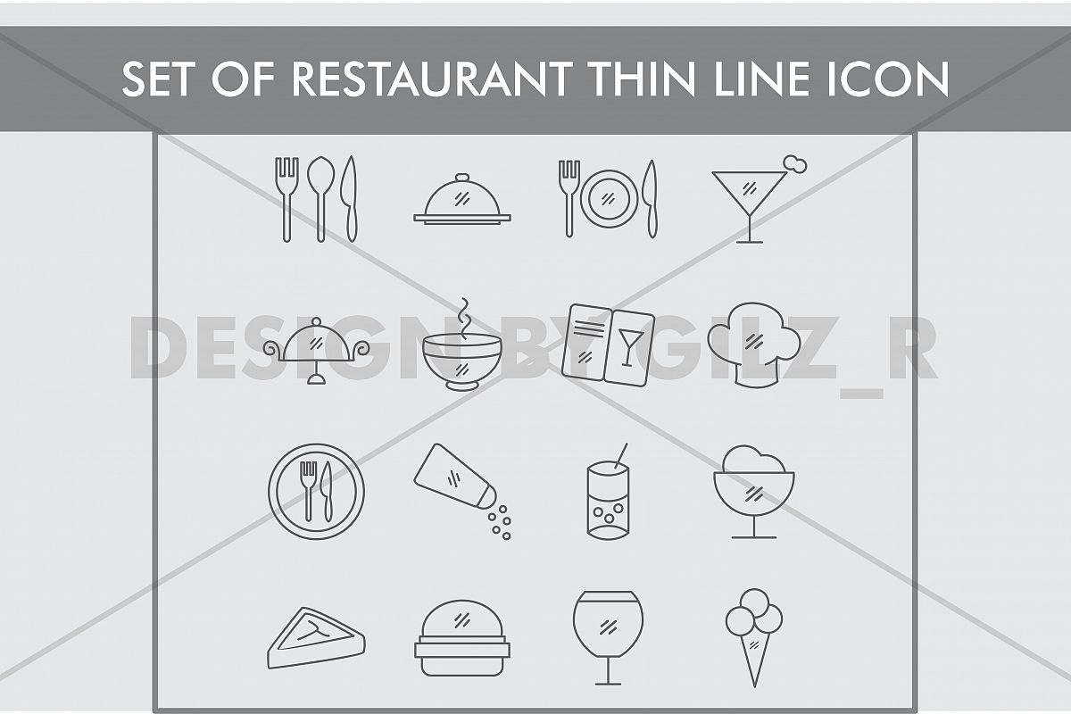 Set of Restaurant Thin Line Icons example image 1
