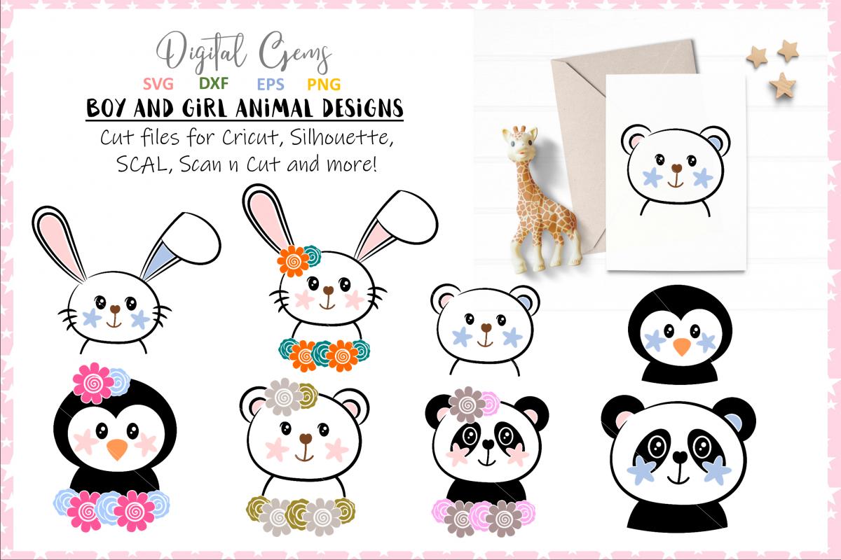 Rabbit, Panda, Bear, Penguin designs. example image 1