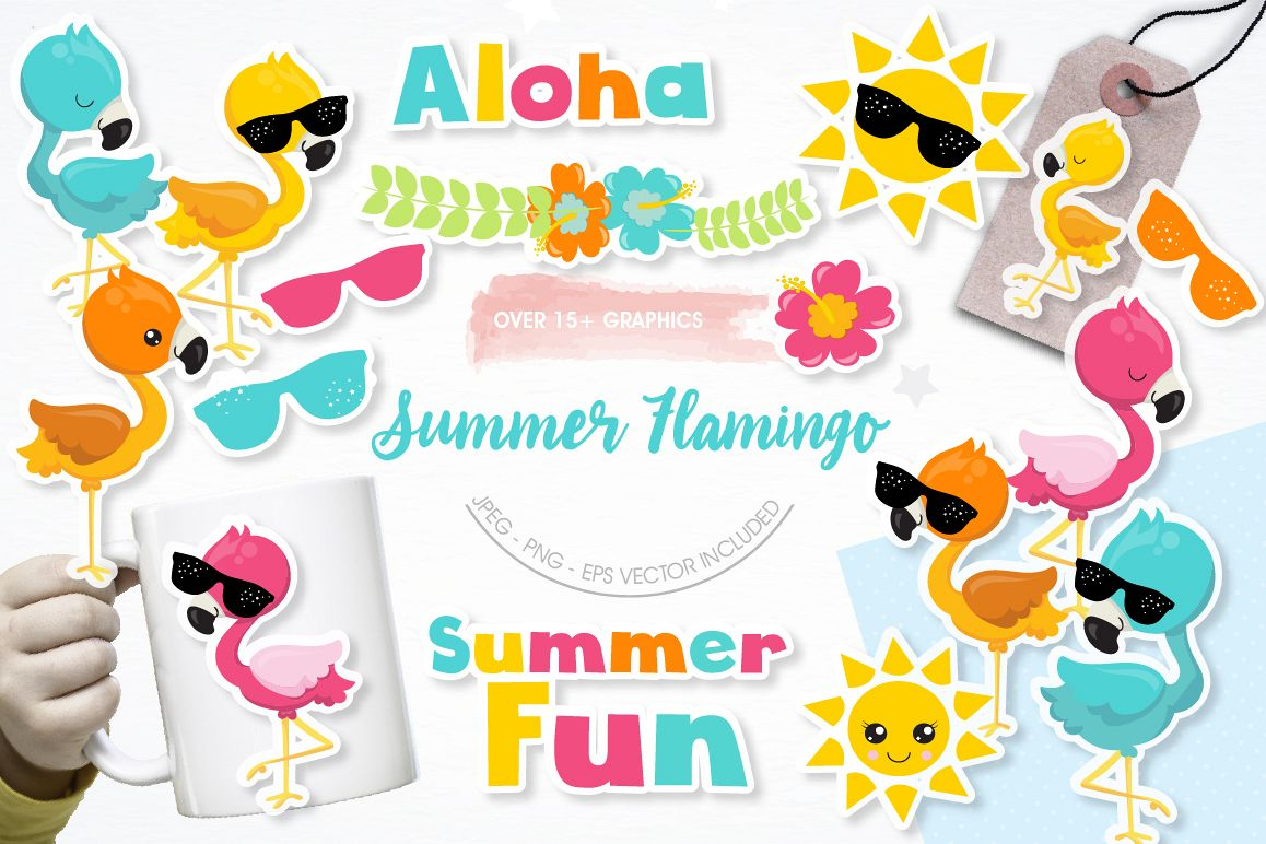 Summer Flamingos graphics and illustrations example image 1