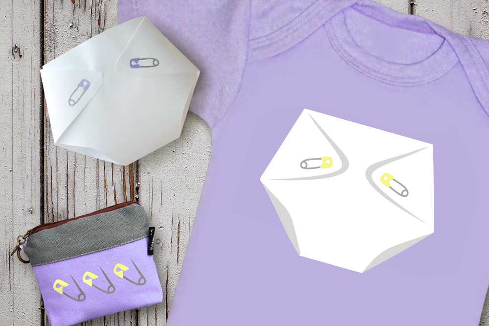 Diaper and Safety Pins SVG File Cutting Template example image 1
