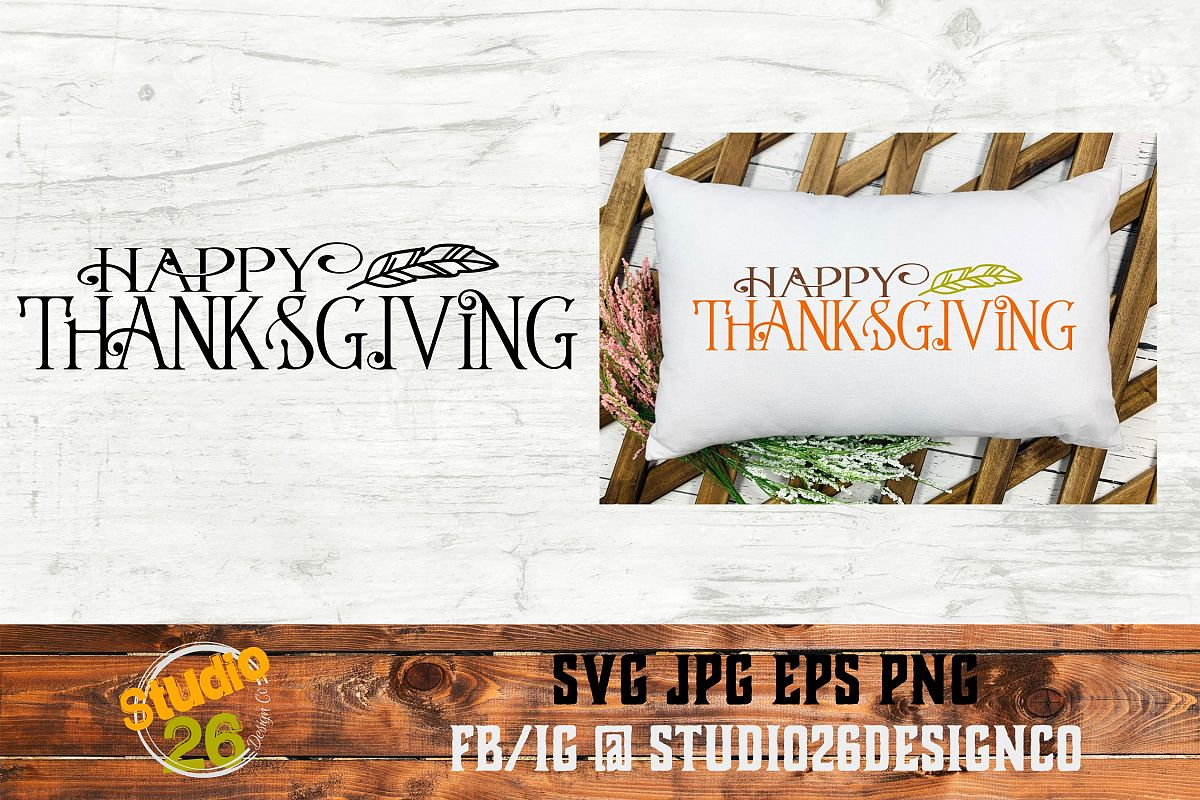 Happy Thanksgiving - SVG PNG EPS example image 1