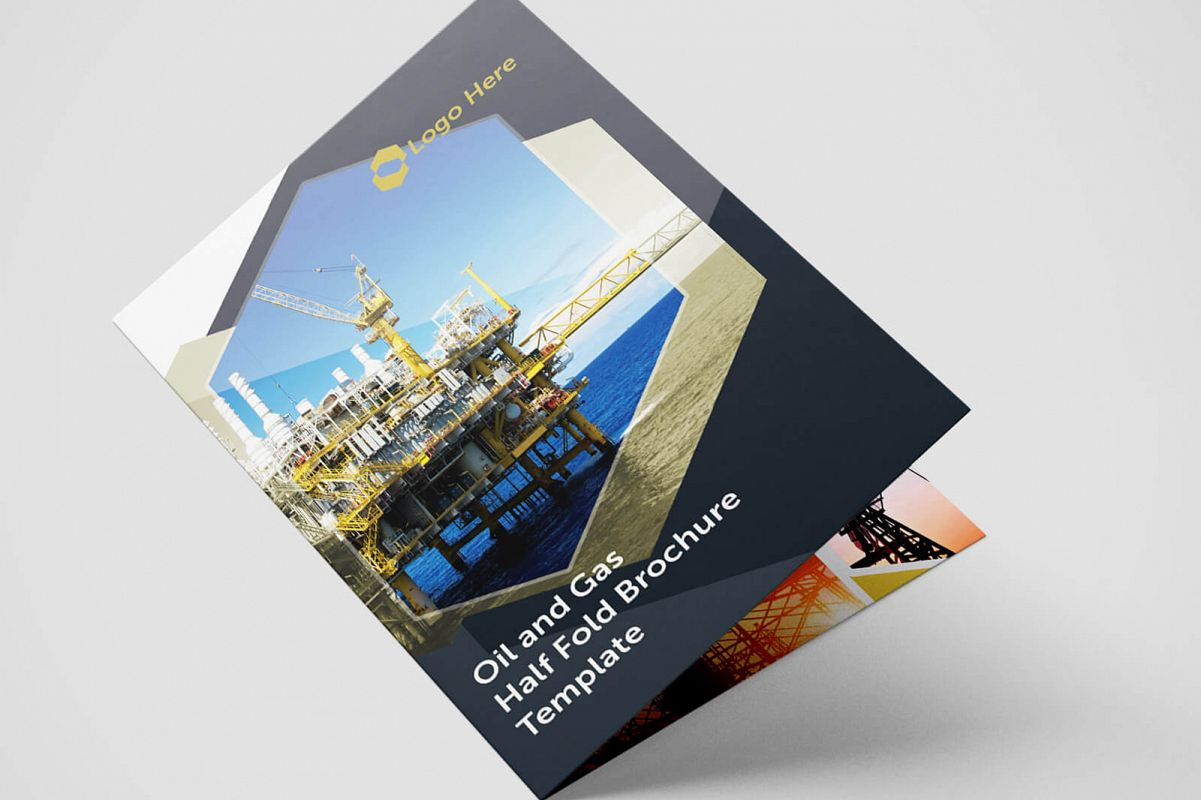 Half Fold Oil And Gas Brochure Template Design Bundles - Single fold brochure template
