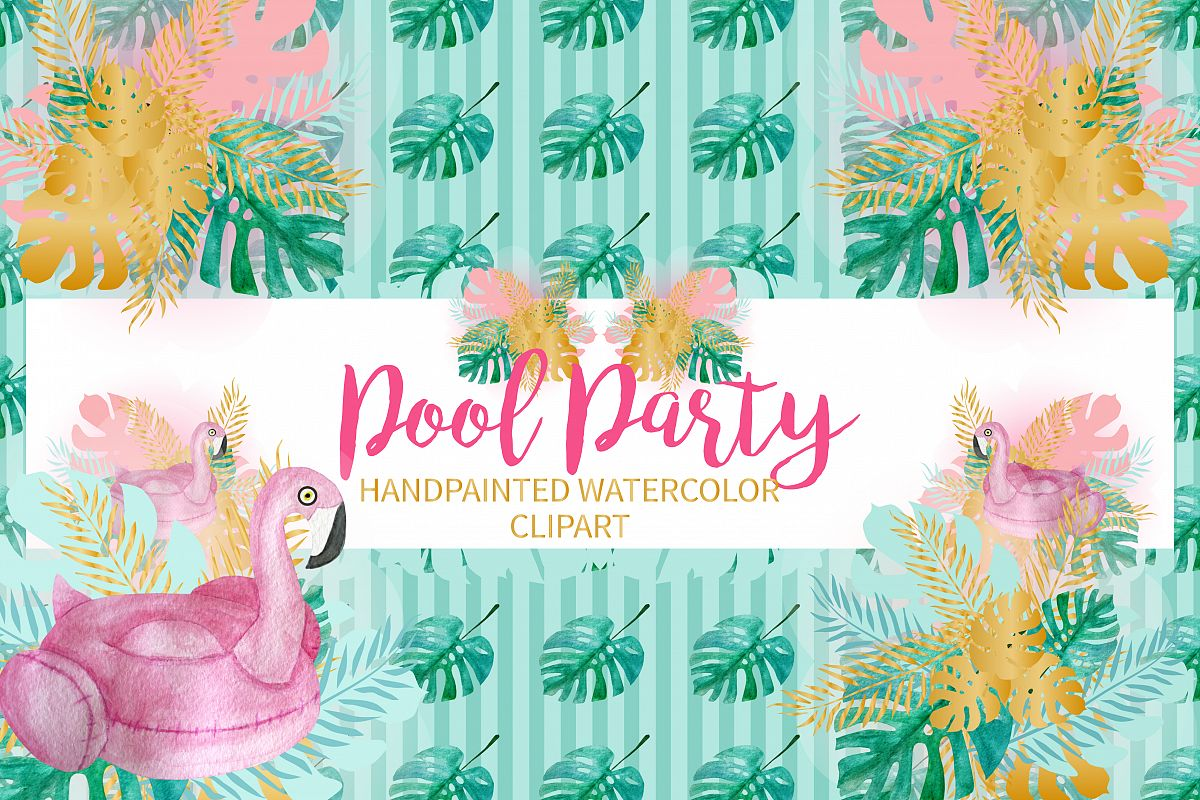 Pool Party Watercolor Clipart example image 1