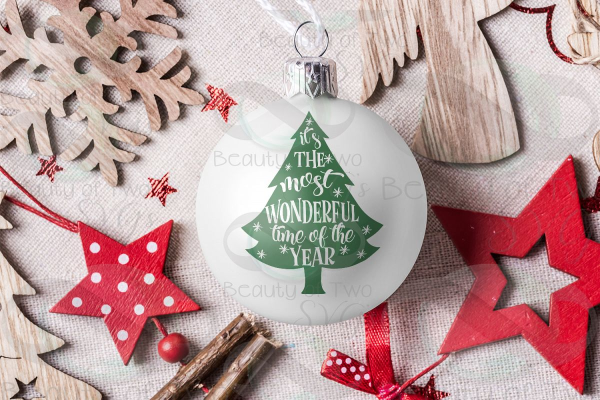 Christmas Ornament svg, Most wonderful time of year tree svg example image 1