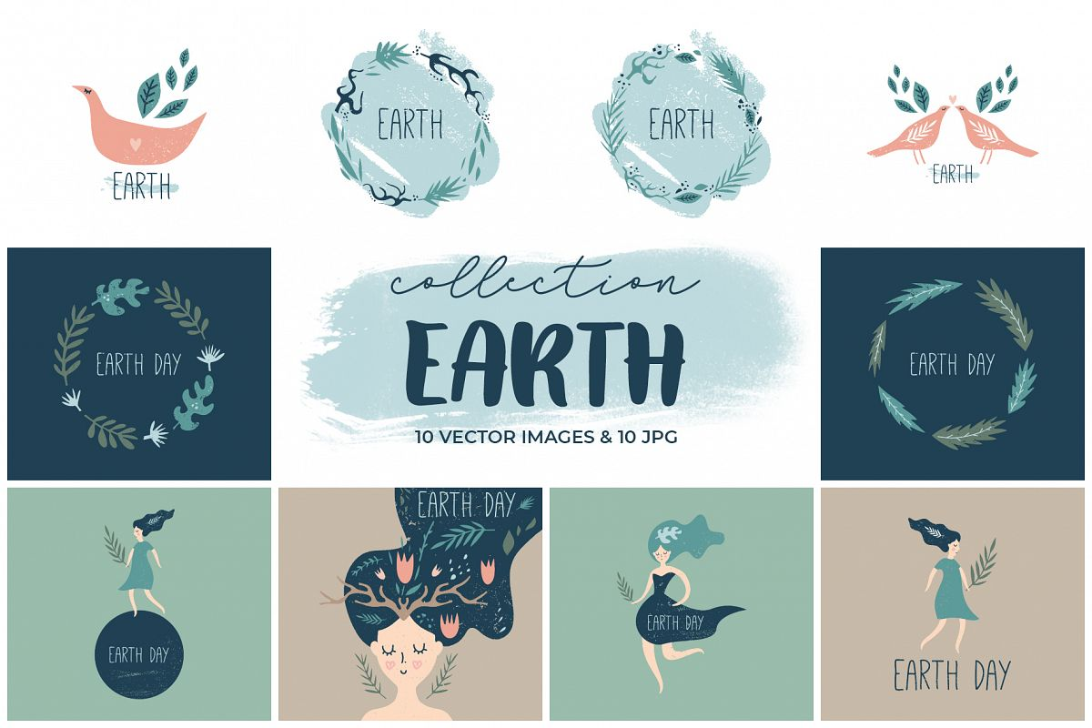 Earth Day elements set example image 1