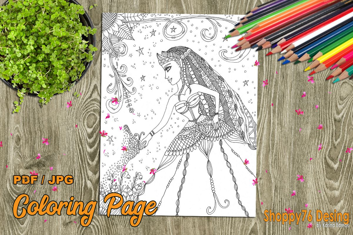 Queen of the fairies / coloring page example image 1