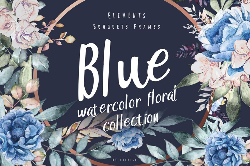 Blue - Floral Watercolor Collection example image 1