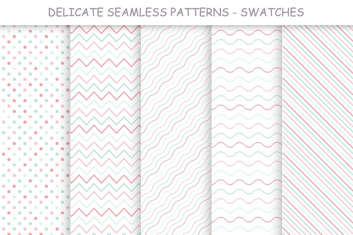 Delicate seamless color patterns example image 1