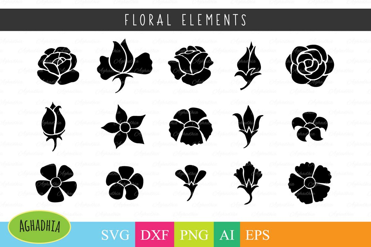 Flower Icon / Floral Element / Flower Buds / Flower Blossom SVG PNG DFX Ai and EPS example image 1