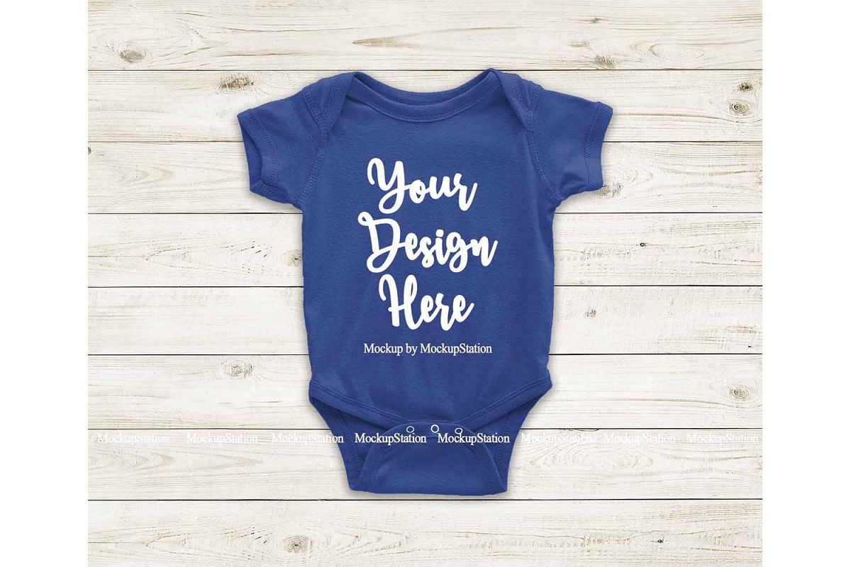 Royal Blue Blank Baby Bodysuit Mockup, Newborn One Piece example image 1