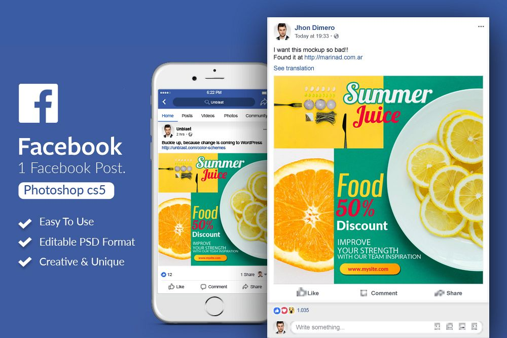 Facebook Post Banner - Food Discount example image 1