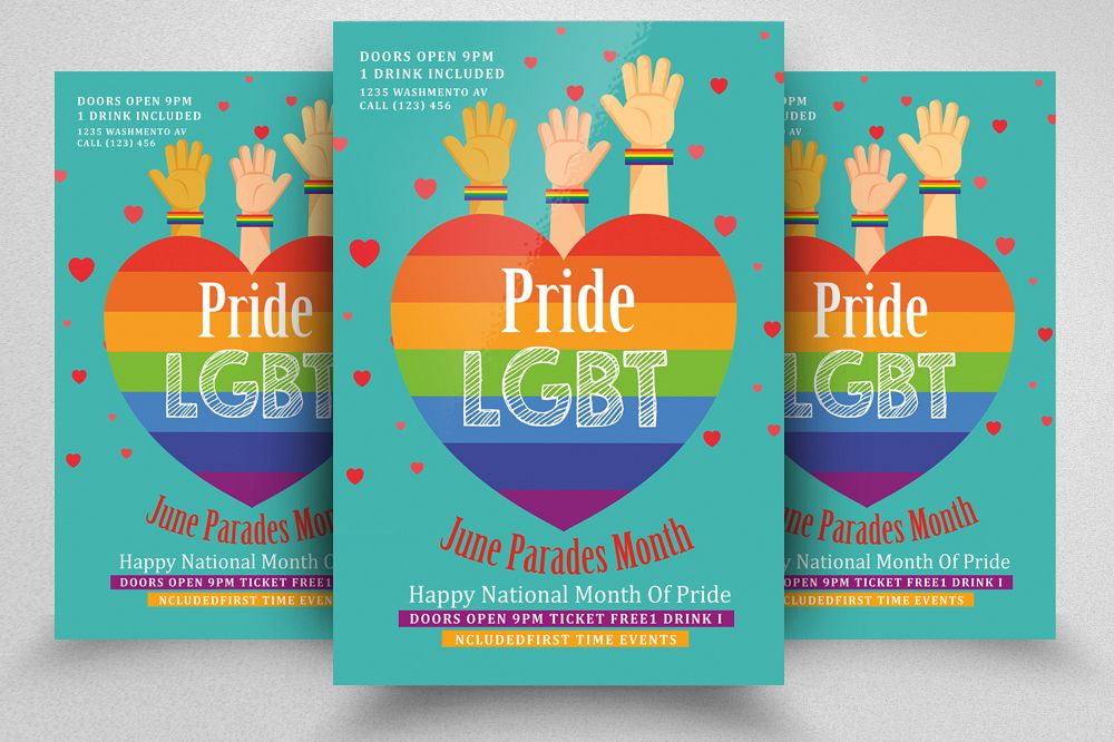Pride Party Flyer Print Template