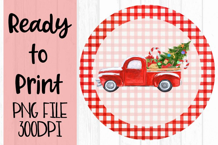 Christmas Truck Circle Red Ready to Print example image 1