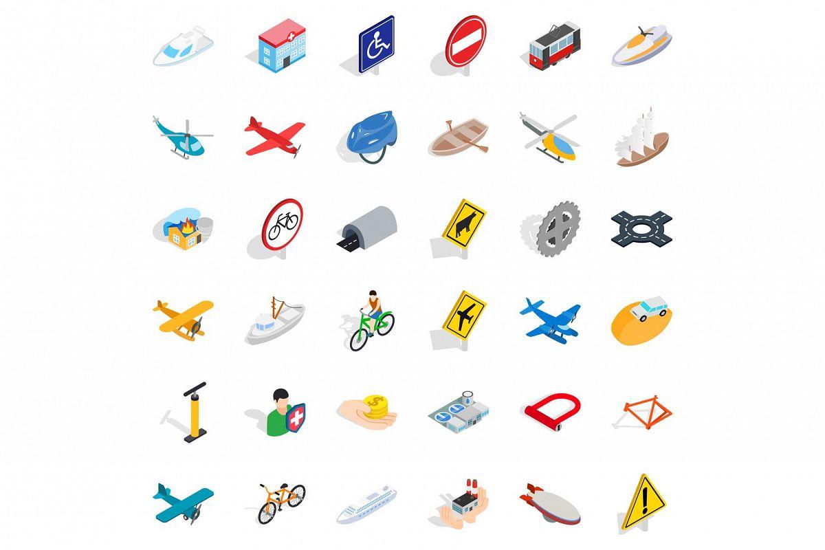 Big transport icons set, isometric style example image 1