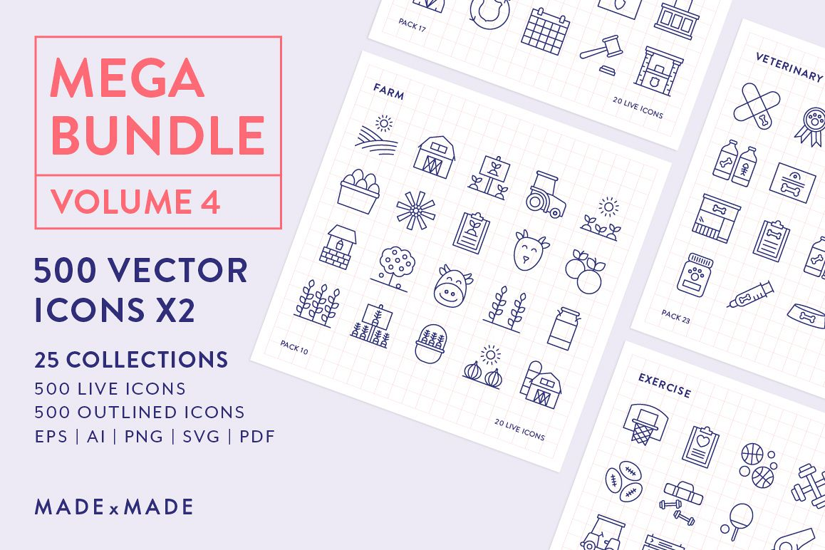 Line Icons – Mega Bundle Vol 4 example image 1