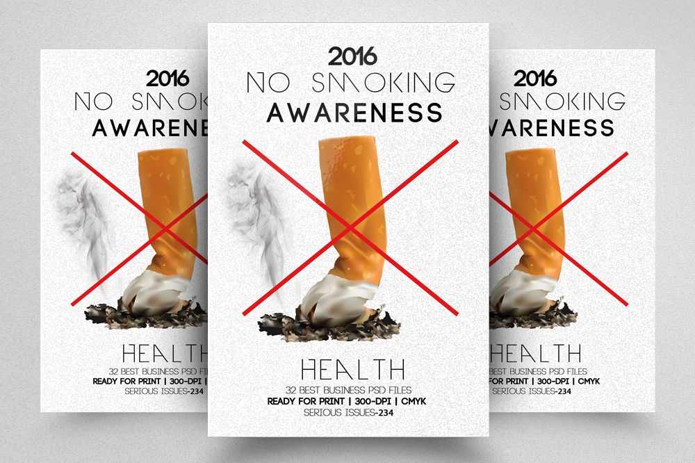 No Smoking Campaign Flyer Template