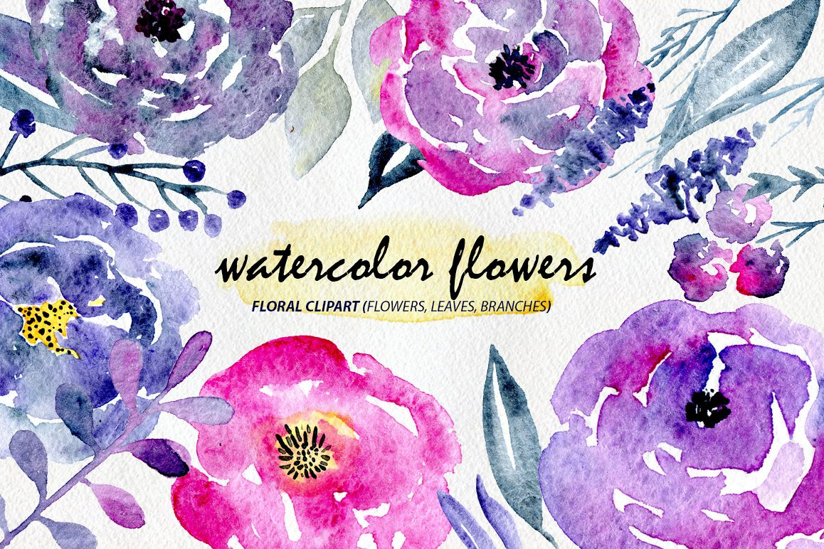 23 Watercolor floral elements example image 1