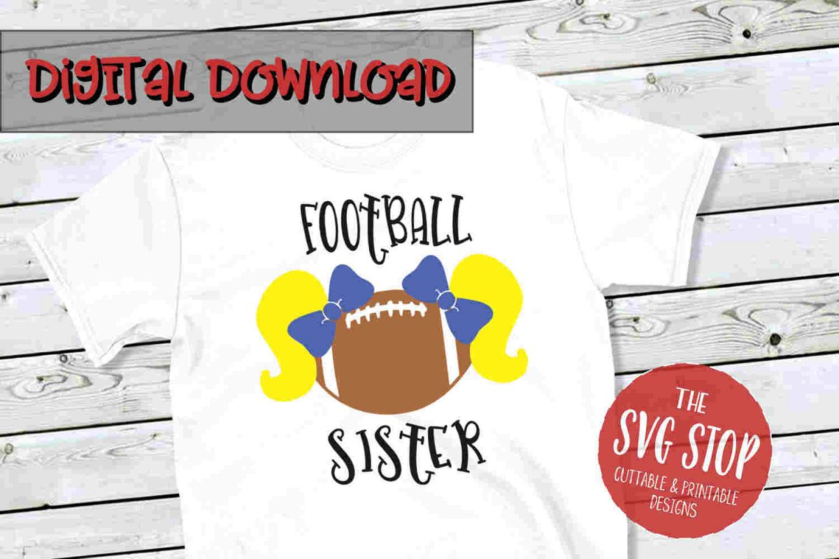 Pigtail Football Sister 2 -SVG, PNG, DXF example image 1