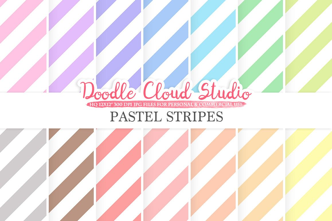 Pastel Stripes digital paper, Stripes pattern, Digital Candy Stripes, pastel background, Instant Download for Personal & Commercial Use example image 1