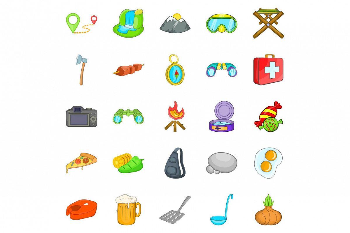 Campsite icons set, cartoon style example image 1