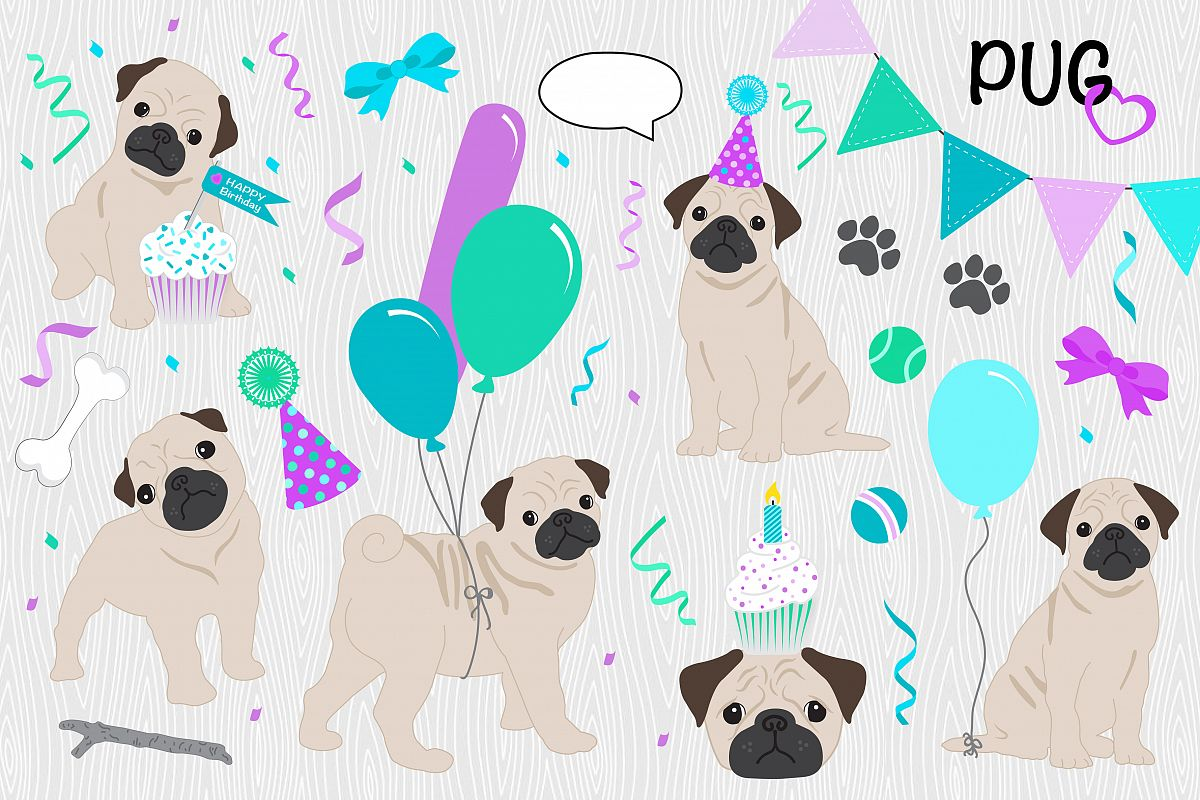 DOG CLIPART Puppy Love Birthday Pack