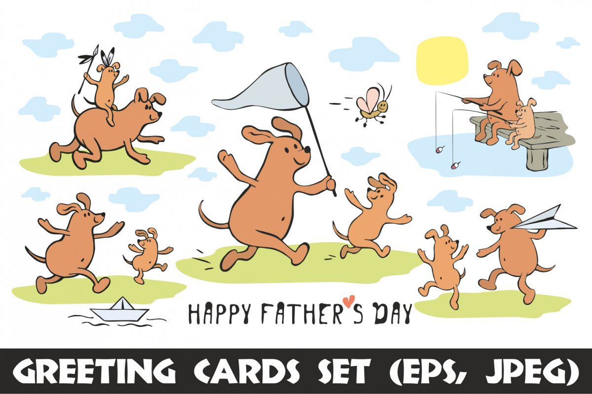 Funny dogs. Fathers day greeting cards set example image 1