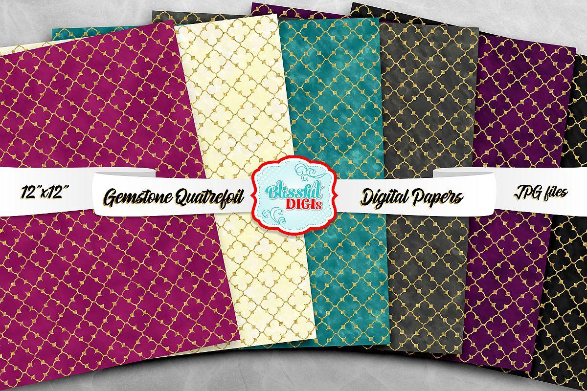 Digital Papers Bundle - Gemstone Quatrefoil - JPG example image 1