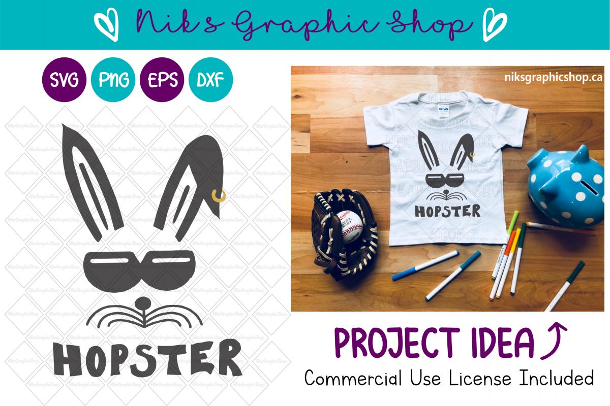 Hopster Svg, Easter Svg, Bunny Svg, Easter Cut File, Funny example image 1