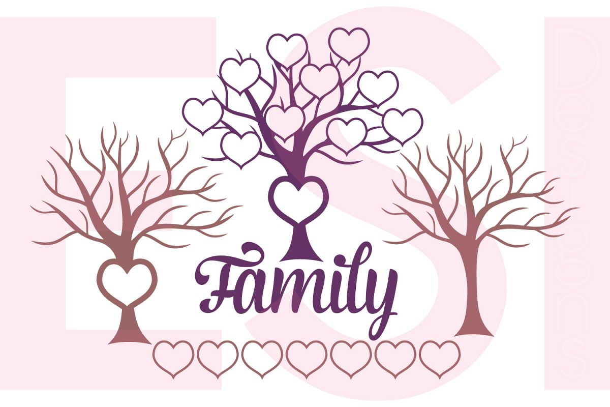 family tree design with extra hearts by design bundles