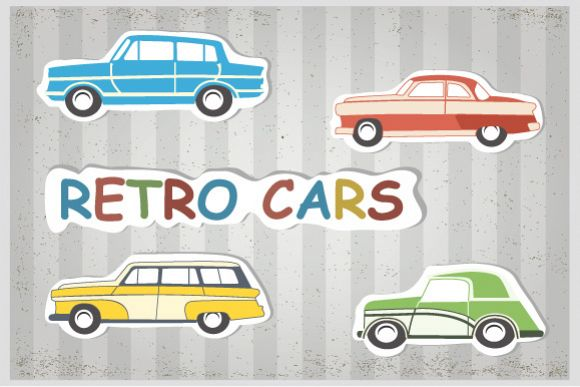 Retro cars and trains vector clipart example image 1
