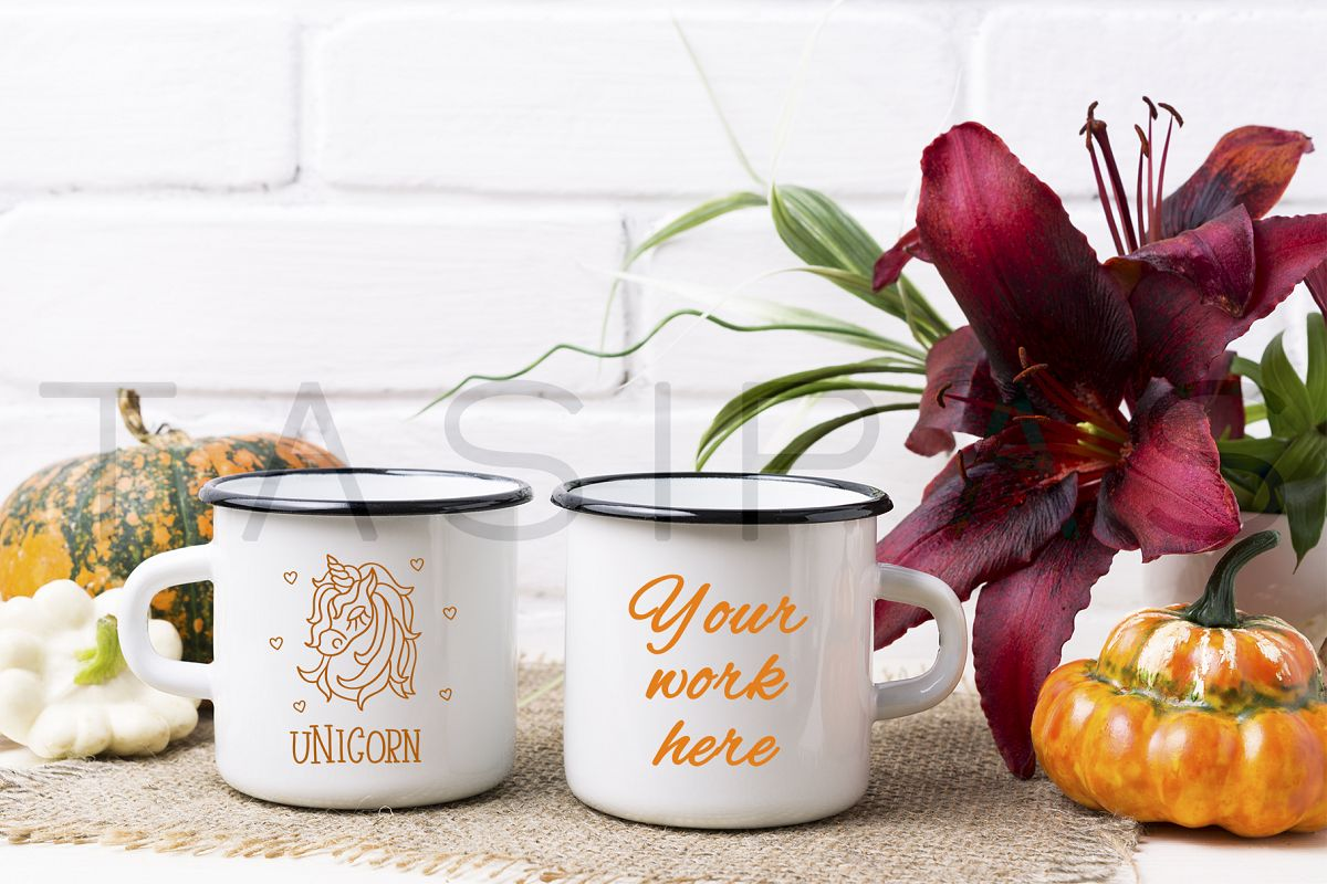 Two white campfire enamel mug mockup with pumpkin and lily. example image 1