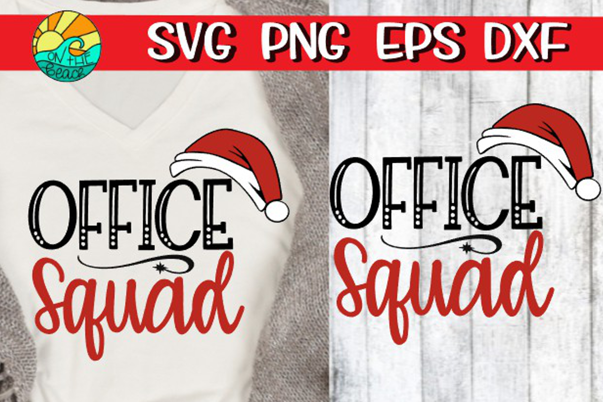 Office Squad with Santa hat - Christmas SVG example image 1