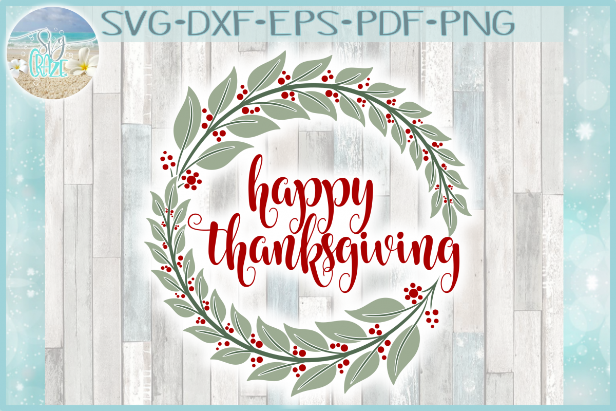 Happy Thanksgiving with Wreath SVG example image 1