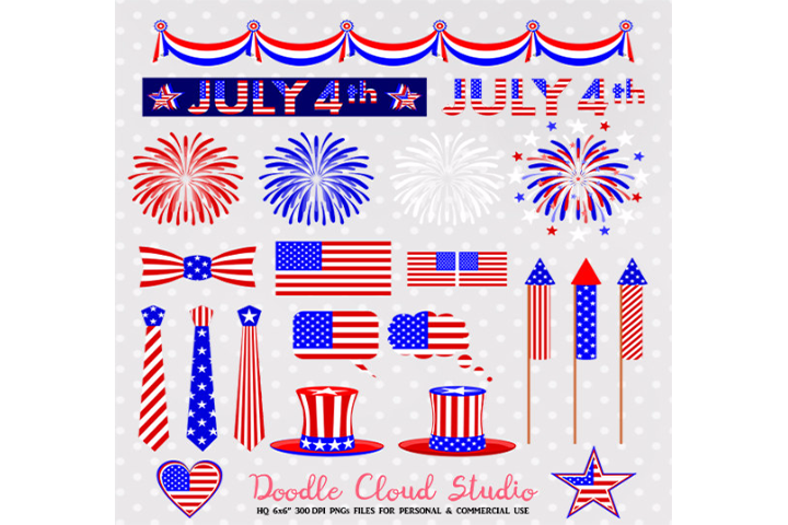 4 July Clipart Fireworks flag bunting banners hats tie USA celebration planner stickers PNG Transparent Background Personal & Commercial Use example image 1