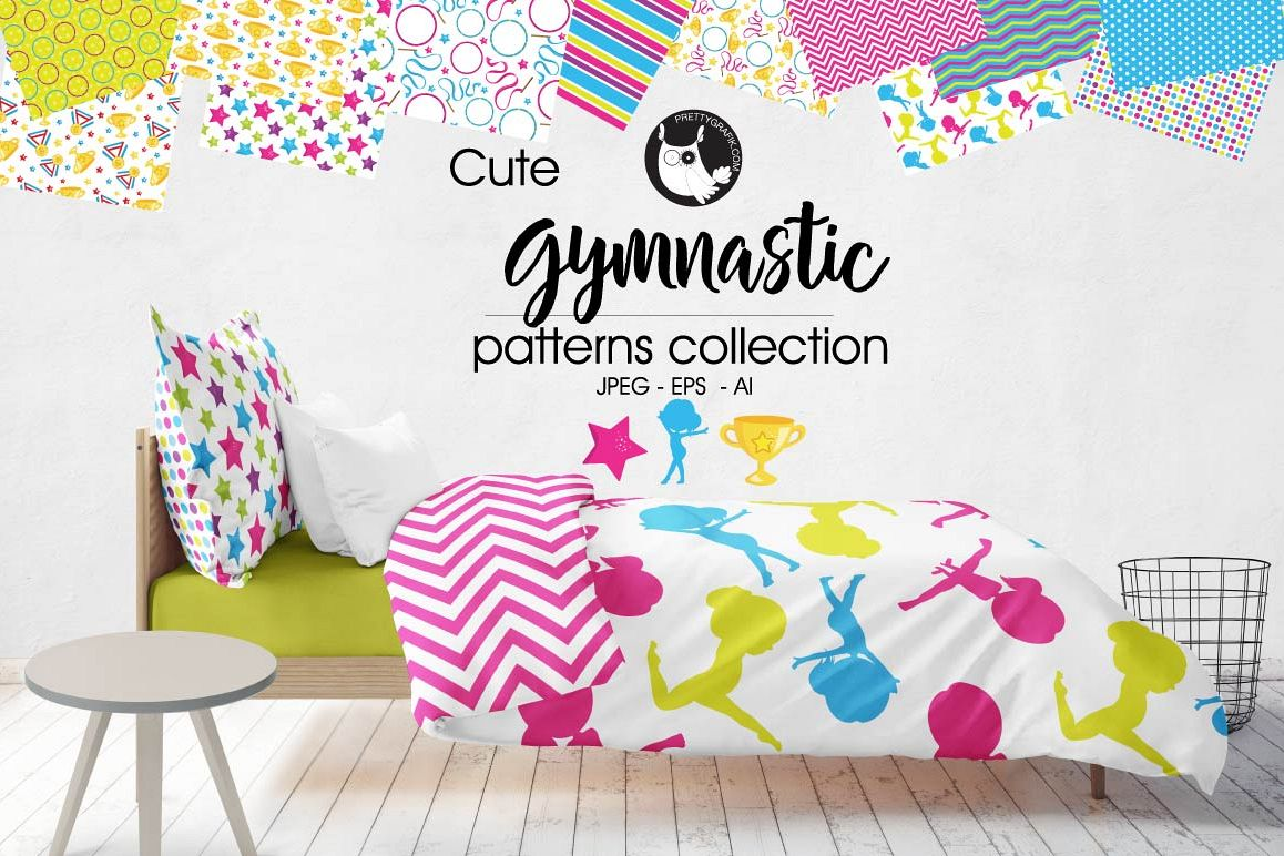 Gymnastic, digital papers example image 1