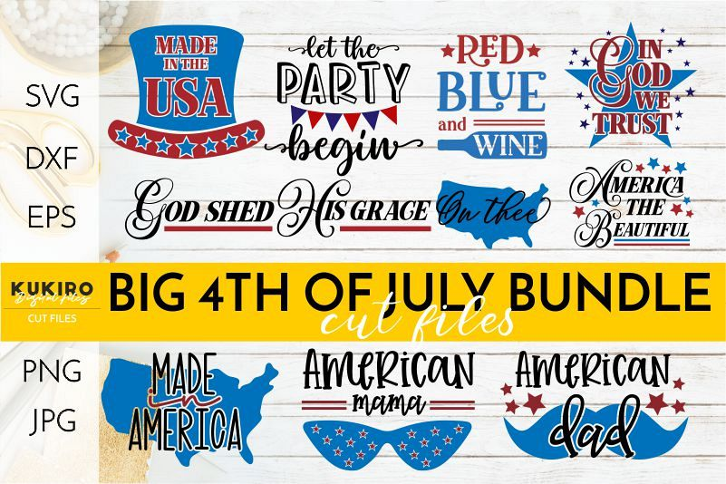 4th of July Bundle SVG - Big Patriotic Cut files Bundle example image 1