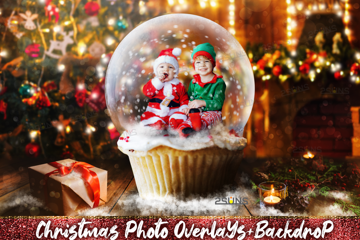 67 Christmas, overlays, photoshop PNG backdrop snow globe example image 1