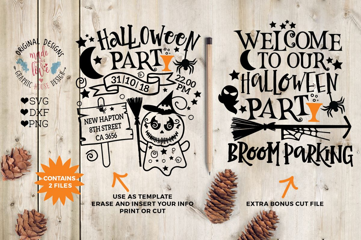 halloween party template and halloween welcome cut file