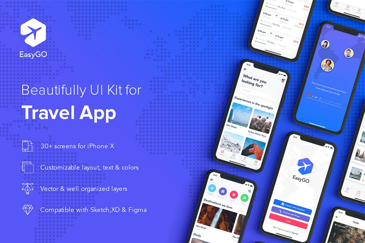 EasyGo - Travel App UI Kit example image 1