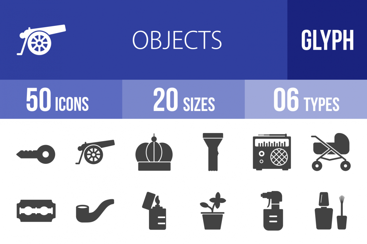 50 Objects Glyph Icons example image 1