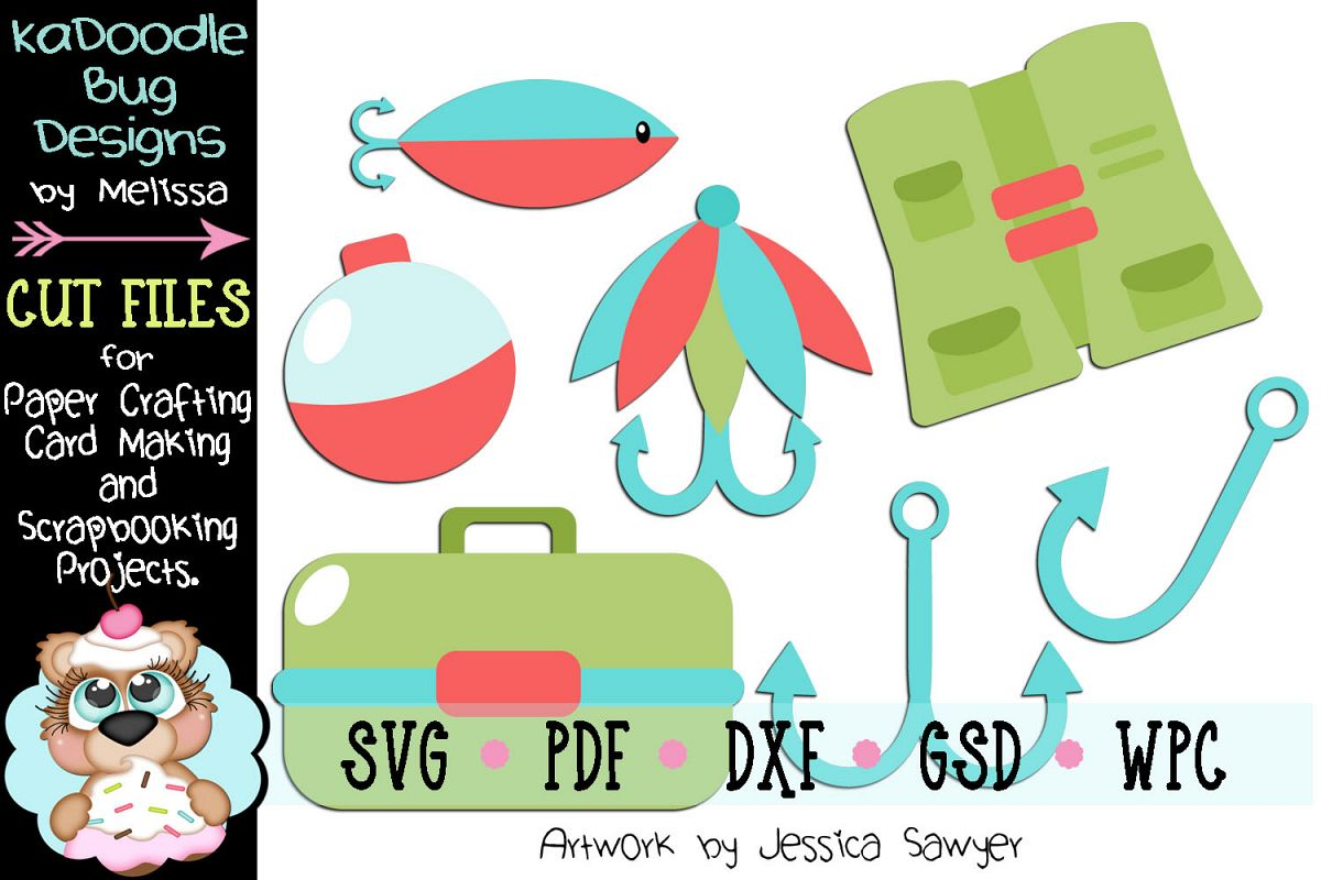 Fishing Gear Cut File - SVG PDF DXF GSD WPC - 7 Pieces Total example image 1