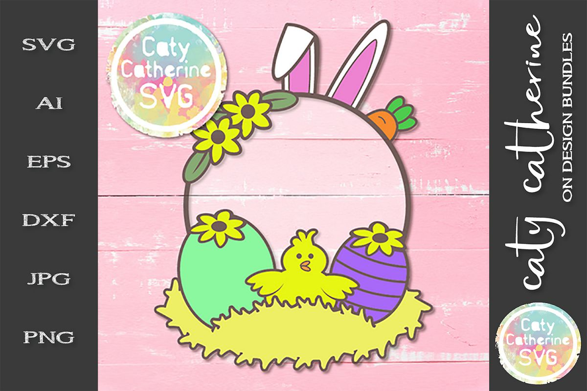 Easter Elements Monogram Frame Bunny Ears Carrot Chick SVG example image 1