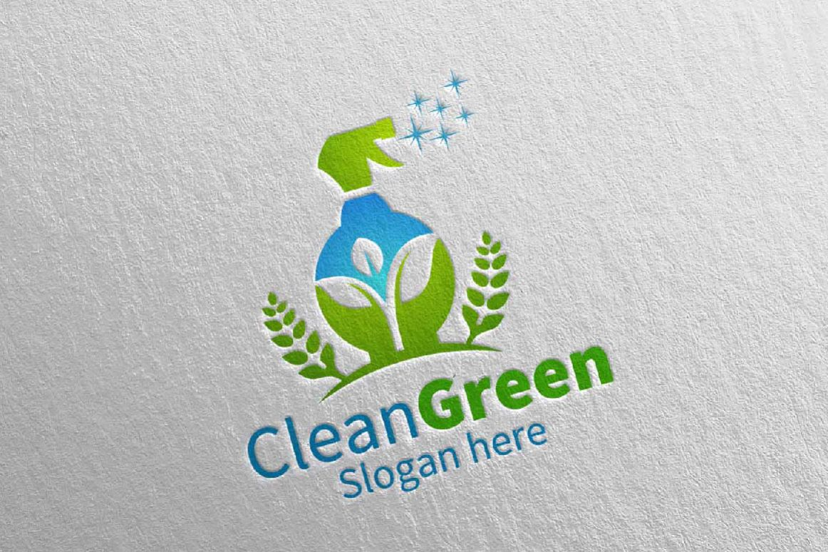 Cleaning Service Logo Eco Friendly example image 1