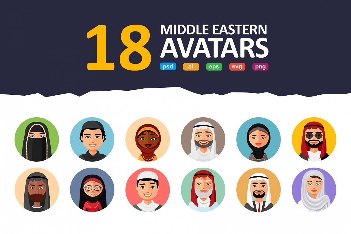 18 Flat & Middle Eastern Avatars example image 1